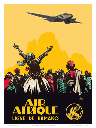 Air Afrique Airline - West Africa - Bamako Airlines (Ligne de Bamako) Print by  Pacifica Island Art