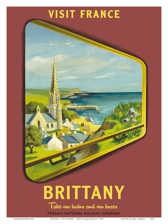 Brittany - Visit France - SNCF (French National Railway Company) Prints by Jean Garcia