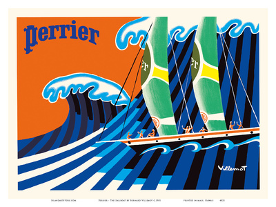 Perrier - The Sailboat - Hokusai The Great Wave Posters by Bernard Villemot