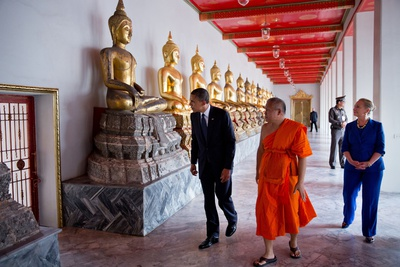 President Barack Obama and Secretary Hillary Clinton Tour Wat Pho Royal Monastery Photo