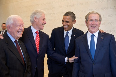 President Barack Obama Laughs with Former Presidents Jimmy Carter, Bill Clinton, and George W. Bush Photo