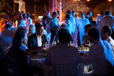 President Barack Obama Attends a Summit of the Americas Leaders' Dinner, Cartagena, Colombia Photo