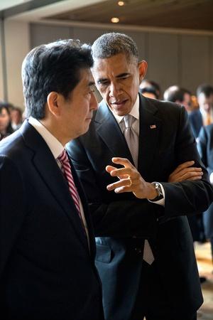 President Barack Obama Talks with Prime Minister Shinzo Abe of Japan, Nov. 11, 2014 Photo