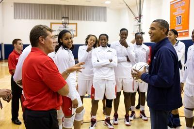 President Obama Talks Coach Geno Auriemma and the U.S. Women's Olympic Basketball Team Photo