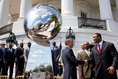 President Barack Obama Greets Members of the Super Bowl Champion New York Giants Photo