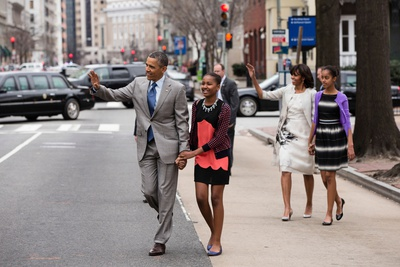 President Barack Obama and His Family Walk to Attend an Easter Service at St Photo