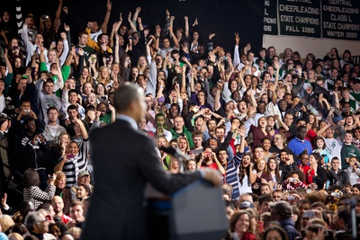 Audience Cheers as President Barack Obama Delivers Remarks on the American Jobs Act Photo