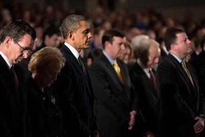 President Obama Attends a Sandy Hook Interfaith Vigil at Newtown High School in Newtown, Conn Photo