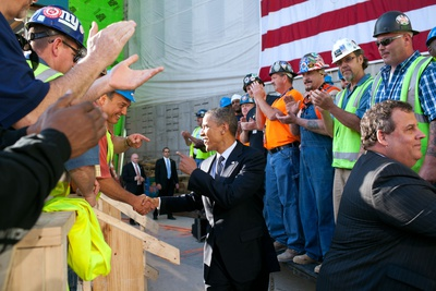 President Obama and Governor Chris Christie, Greet Workers at One World Trade Center Site Photo