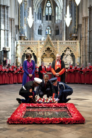 President Barack Obama, Lays a Wreath at the Grave of the Unknown Warrior at Westminster Abbey Photo