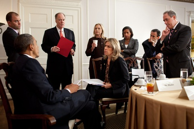 President Barack Obama Meets with Advisors before a Meeting with PM David Cameron of Britain Photo