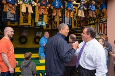President Obama and Governor Chris Christie Playing Arcade Game, 'Touch Down Fever Photo