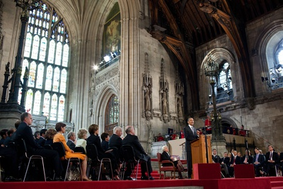 President Barack Obama Speaks to Members of Both Houses of Parliament at Westminster Hall Photo