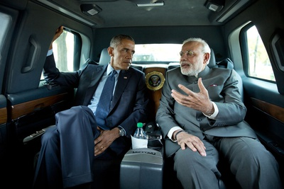 Premier Narendra Modi of India Rides with President Obama to the Martin Luther King, Jr Photo