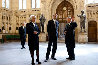 President Barack Obama Tours the House of Commons Members' Lobby at Parliament in London Photo