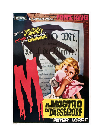 M, (AKA Il Mostro Di Dusseldorf), 1960s Italian Poster Art, 1931 Giclee Print