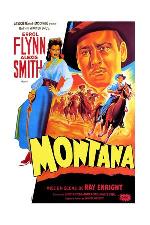 Montana, Alexis Smith, Errol Flynn, (French Poster Art), 1950 Giclee Print