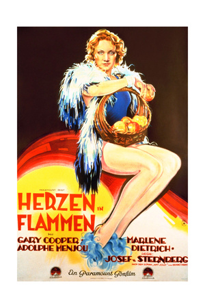 Morocco, (AKA Herzen in Flammen), Marlene Dietrich, on German Poster Art, 1930 Lámina giclée