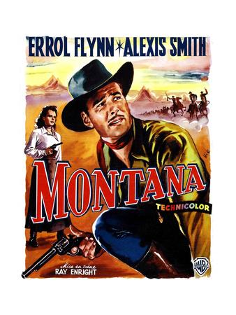 Montana, Alexis Smith, Errol Flynn, (Belgian Poster Art), 1950 Giclee Print