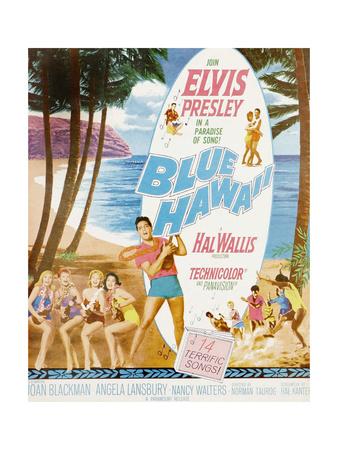 Blue Hawaii, Bottom Center: Elvis Presley on Poster Art, 1961 Giclee Print