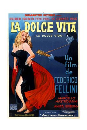 La Dolce Vita, Anita Ekberg, Argentinian Poster Art, 1960 Giclee Print