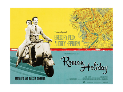 Roman Holiday, British Re-Release Poster Art, 1953 Gicléetryck