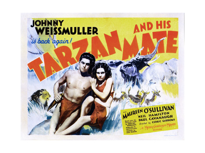 Tarzan and His Mate, from Left: Johnny Weissmuller, Maureen O'Sullivan, 1934 Giclee Print