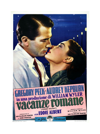 Roman Holiday, Left to Right: Gregory Peck, Audrey Hepburn on Italian Poster Art, 1953 Giclee Print