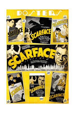 Scarface, Paul Muni, Various Poster Selections, 1932 Giclee Print
