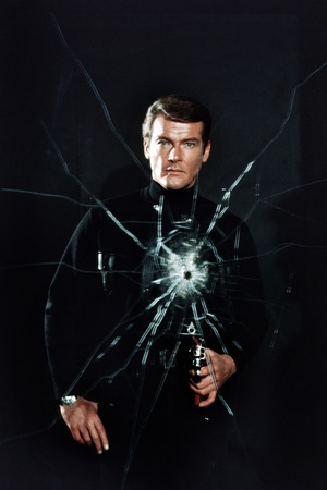 Broken mirror color photograph of celebrity Roger Moore, playing as James Bond, in the movie Live and Let Die (1973)