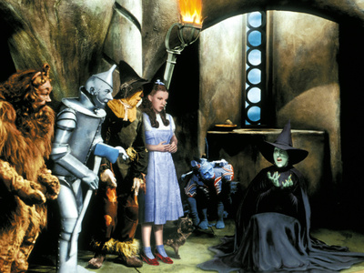 The Wizard of Oz, Bert Lahr, Jack Haley, Ray Bolger, Judy Garland, Margaret Hamilton, 1939 Photo