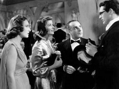 Bringing Up Baby, from Left, Tala Birell, Katharine Hepburn, Fritz Feld, Cary Grant, 1938 Photo