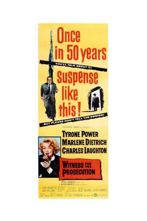 Witness for the Prosecution, Top: Tyrone Power, Bottom: Marlene Dietrich on Insert Poster, 1957 Giclee Print