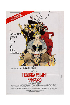 Amarcord, Spanish Language Poster Art, 1973 Giclee Print