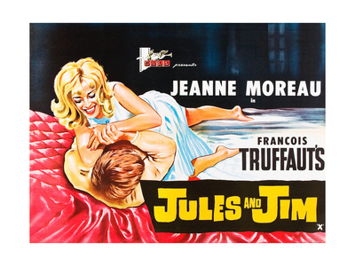 Jules and Jim, (AKA Jules Et Jim), L-R: Henri Serre, Jeanne Moreau on British Poster Art, 1962. Giclee Print