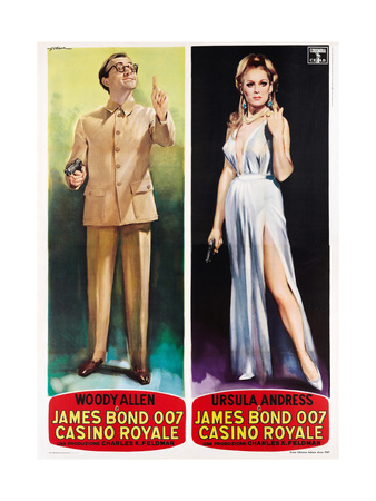Casino Royale, from Left: Woody Allen, Ursula Andress on Italian Poster Art, 1967 Lámina giclée