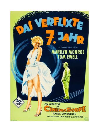 The Seven Year Itch, (aka Das Verflixte 7 Jahr), Marilyn Monroe, Tom Ewell, 1955 Giclee Print