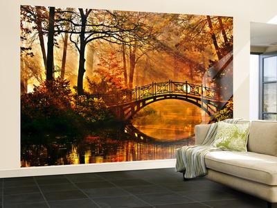 Autumn Bridge Non-Woven Vlies Wallpaper Mural Wallpaper Mural