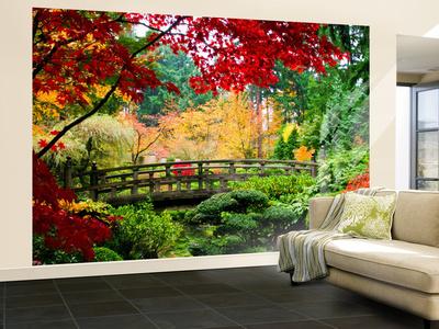 Bridge in Japanese Garden Non-Woven Vlies Wallpaper Mural Wandgemälde
