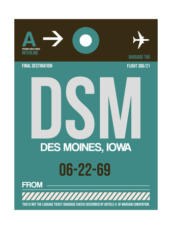 DSM Des Moines Luggage Tag II Posters by  NaxArt
