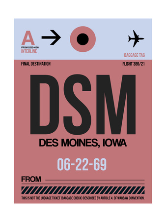 DSM Des Moines Luggage Tag I Art by  NaxArt