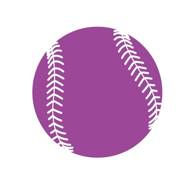 Violet Softball on White Art by  Sports Mania