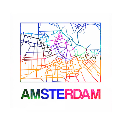 Amsterdam Watercolor Street Map Posters by  NaxArt