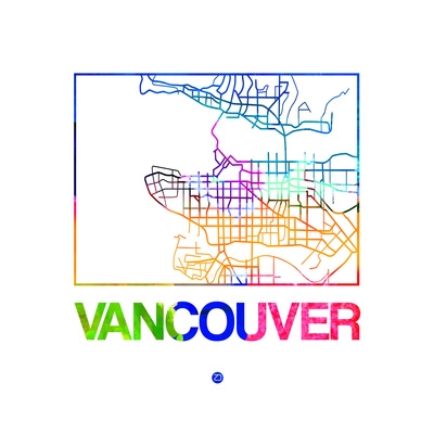 Vancouver Watercolor Street Map Prints by  NaxArt