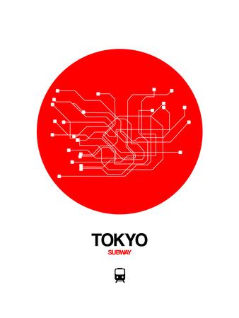 Tokyo Red Subway Map Prints by  NaxArt