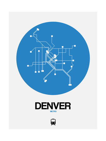Denver Blue Subway Map Prints by  NaxArt