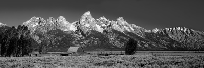 Barn on Plain before Mountains, Grand Teton National Park, Wyoming, USA Photographic Print by  Panoramic Images