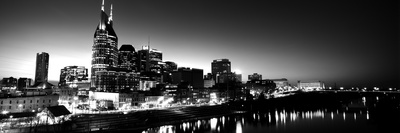 Skylines at Night Along Cumberland River, Nashville, Tennessee, USA Photographic Print by  Panoramic Images