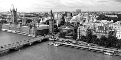 High Angle View of a Cityscape, Houses of Parliament, Thames River, City of Westminster Photographic Print by  Panoramic Images