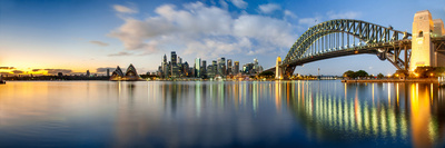 Sydney Harbour Bridge and Skylines at Dusk, Sydney, New South Wales, Australia Photographic Print by  Panoramic Images